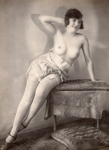 Woman nude study risque France old Photo Super 1920'