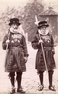 Guards Tower of London Yeomen Warders Beefeaters Military Old FGOS Photo 1890