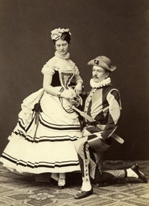 Pantomime Show Actors Stage Wien Old Atelier Adele Cabinet Card Photo CC 1869