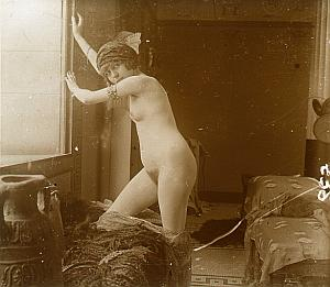Hammam Nude Scene old glass stereo Photo Richard 1900'