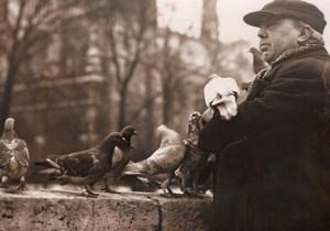 Pigeon & Man friend Notre Dame Paris France Photo 1952