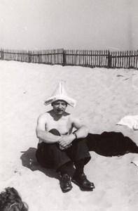 Crazy Man on Beach Snapshot Photo France 1950'