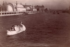 Swan Boat Publicity Paris France old Amateur Photo 1900