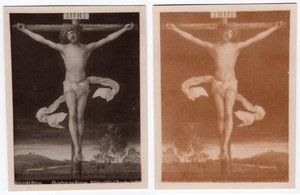 Jesus on Cross Chemical Transfert Photo Miracle 1890
