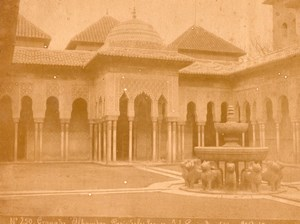 Spain Granada Alhambra Lions Fountain Photo Puig 1875'