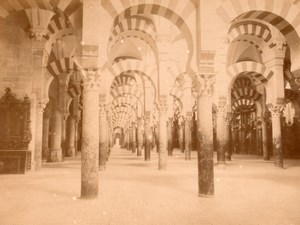Spain Cordoba Mezquita Interior old Photo Puig 1875'
