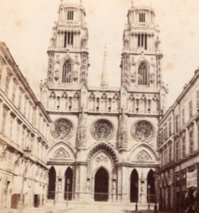 Orleans Cathedral facade France Old Stereo Photo 1860'