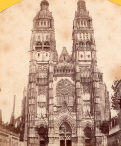 Tours Cathedral Facade France Old Stereo Photo 1860'