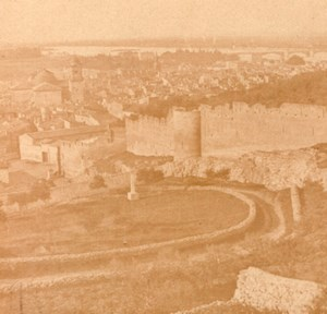 Beaucaire Panorama France Old Stereo Photo 1860'