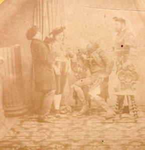 Theatre Play Scene Group France Old Stereo Photo 1860'
