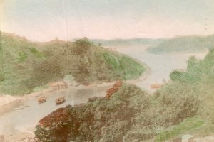 River Boat panorama Japan Old Hand-Colored Photo 1880'