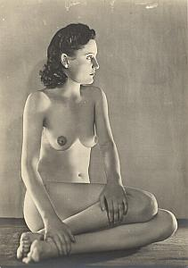 Woman Risque Nude France Paris old Estel Photo 1950'