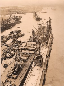 Italy Genova Harbour Water-Crane old Photo 1930'