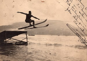 Water Skiing Annecy Lake France old Snapshot Photo 1936