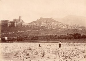Assisi Panorama della Citta Italy Old Photo 1875'