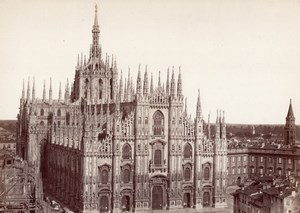 Milano Cathedral & Market Place Italy Old Photo 1875'