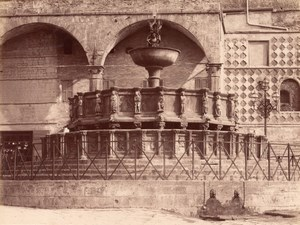 Perugia Fountain Cathedral Place Italy Old Photo 1875'