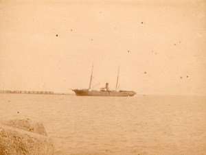 Algeria Alger Port Steamer at Sea old Photo 1890'