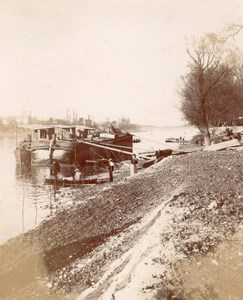 Barge Pinnace on river Boat Seine France Old Photo 1890