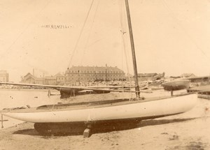 Sailing Boat on Beach sand France Old Photo 1890'