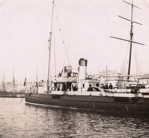 Military French Steamer Boat France Old Photo 1890'