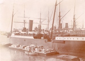 Steamer Boat Freight Cargo France Old Photo 1890'