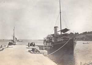 Steamer Carry Boarding Boat France Old Photo 1890'