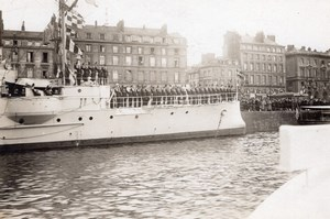 Harbour Animated Military Boat France Old Photo 1910'