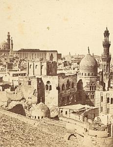 Cairo Mosque Panorama Study Egypt Old Photo 1880