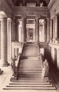 Belgium Brussels Large Stairs Law Courts old Photo 1880