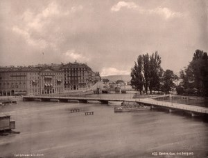 Geneve Quai des Bergues Switzerland old Photo 1890