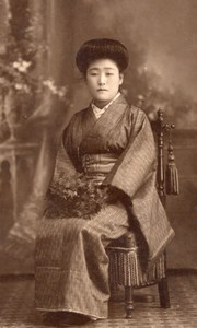 Woman Traditional Fashion Japan Old CDV Photo 1900'