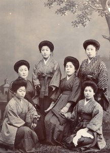 Women Group Traditional Fashion Japan CDV Photo 1900'