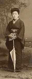 Umbrella Woman Traditional Fashion Japan Old Photo 1900