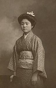 Kimono Woman Traditional Fashion Japan Old Photo 1900'