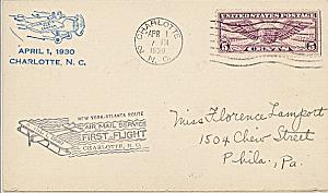 First Airmail Flight 1930 USA Charlotte NC Philadelphia