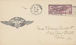 1st Flight Airplane 1930 USA San Diego Philadelphia