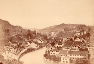 Switzerland Baden panorama old Albumen Photo 1867