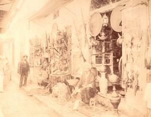 Tunisia Tunis Souk Market Animated old Photo 1880'