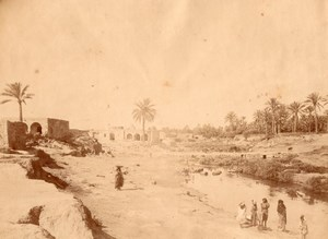 Tunisia Gabes Water Point Animated old Photo 1880'