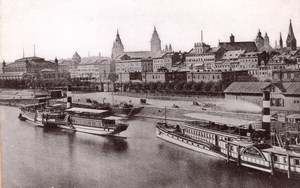 Mainz Rheinquai Germany Boats River Old Cabinet Card Photo CC 1897