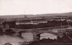 Coblenz Bridge Germany Rheinlande Old Cabinet Card Photo CC 1897