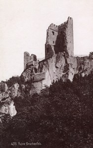 Drachenfels Ruins Germany Rheinlande Old Cabinet Card Photo CC 1897