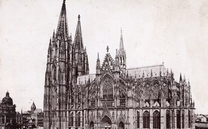 Koln Cathedral Germany Rheinlande Old Cabinet Card Photo CC 1897