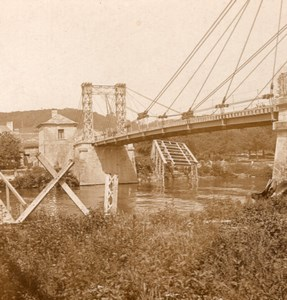 New Bridge French Front WWI Stereo Photo 1918