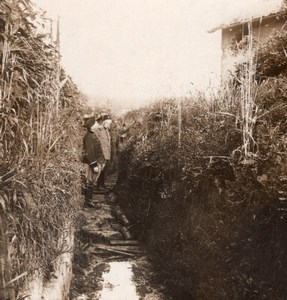 Railway Trench Access French Front WWI Stereo Phot 1918