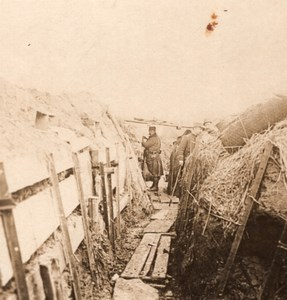 Wooden Trench French Front WWI Stereo Photo 1918