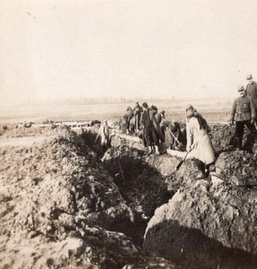 Trench Construction French Front WWI Stereo Photo 1918