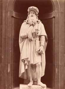 Statue Da Vinci Italian Genius old Alinari Photo 1880