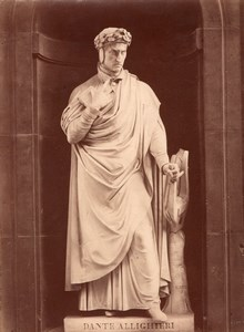 Statue Dante Italian Genius old Alinari Photo 1880